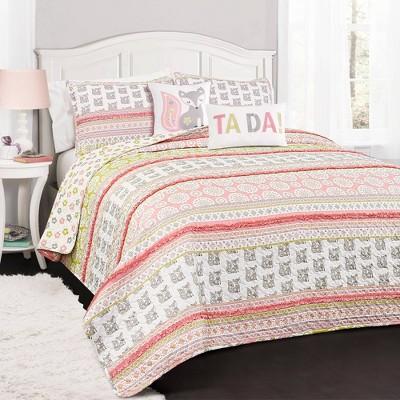 Fox Ruffle Striped Quilt Set with Fox Throw Pillow Pink/Gray - Lush Décor