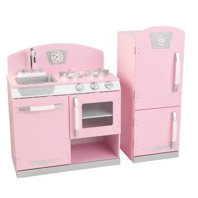 Gentil Kidkraft Pink Retro Kitchen And Refrigerator Play Set