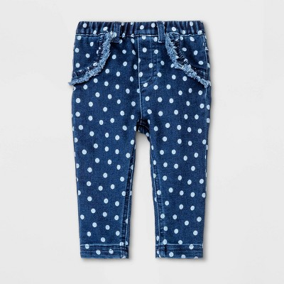 Baby Girls' Ruffle Dot Jeans - Cat & Jack™ Blue 0-3M