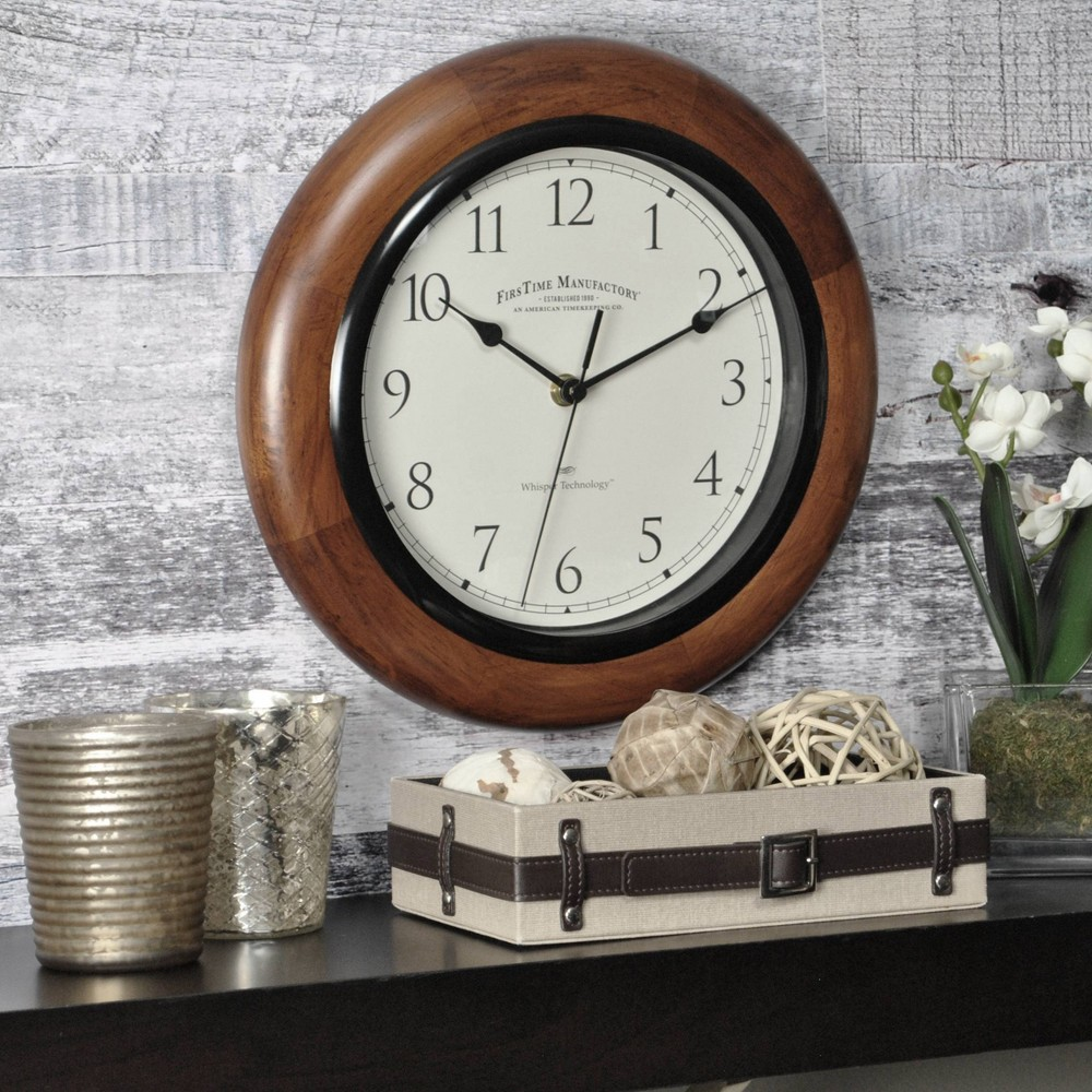 "Image of ""11"""" Casual Round Wall Clock Walnut Finish - FirsTime"""