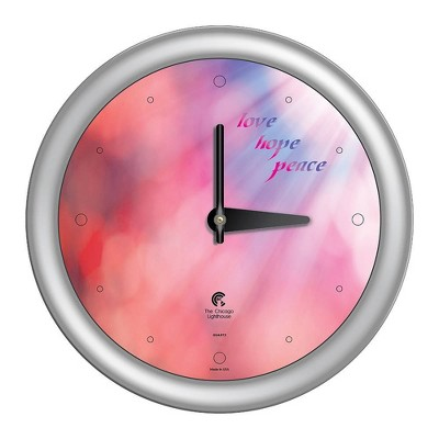 """14"""" x 1.8"""" Peace Love Hope Coral Sunlight Quartz Movement Decorative Wall Clock Silver Frame - By Chicago Lighthouse"""