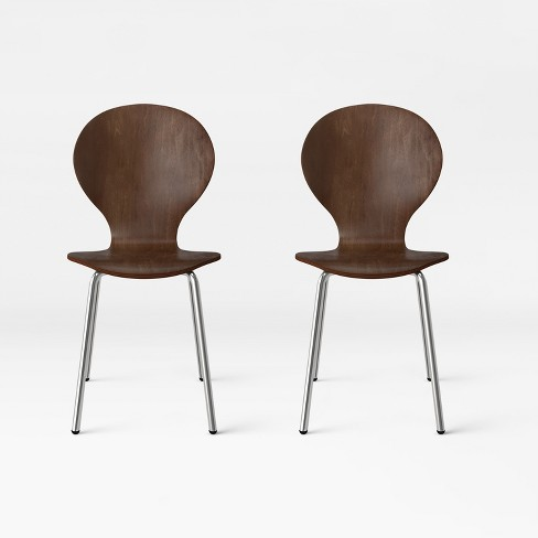 Dard Modern Stacking Chair Dark Brown Set Of 2 Project 62 Target