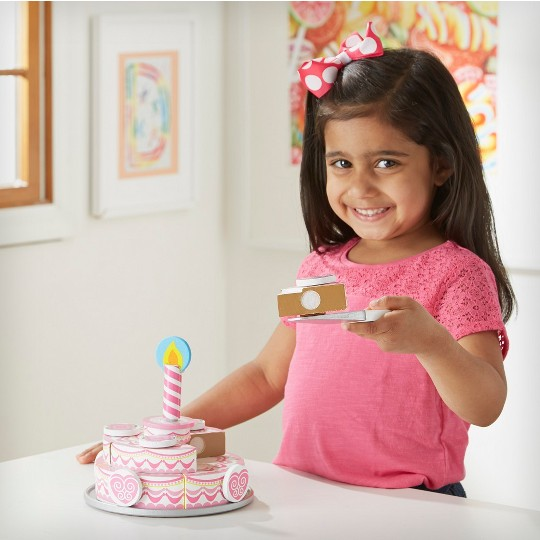 Melissa & Doug Triple-Layer Party Cake Wooden Play Food Set image number null