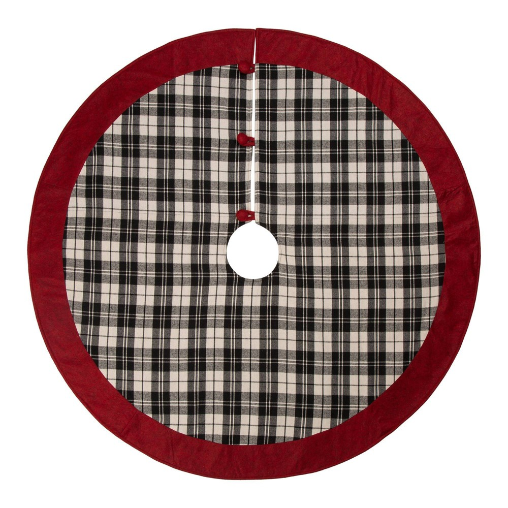 "Image of ""48"""" Black & White Plaid Fabric Christmas Tree Skirt with Red Trim - Glitzhome"""