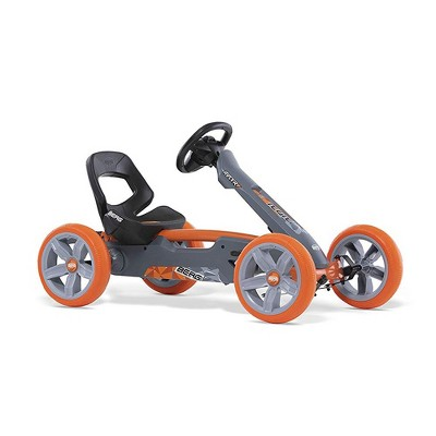 BERG Reppy Racer Kids Pedal Go Kart Ride On Toy with Axle Steering and Bucket Seat, Gray & Orange