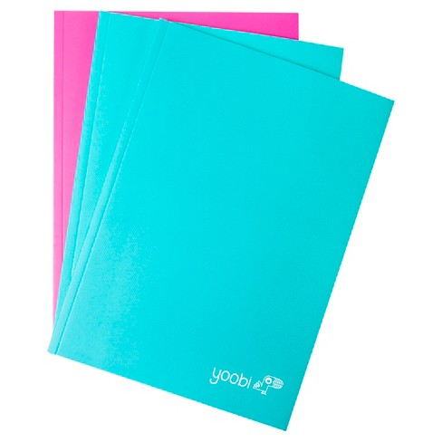 Yoobi™ College Ruled Thin Notebooks - Aqua/Pink, 3 Pack (60 Sheets) - image 1 of 2