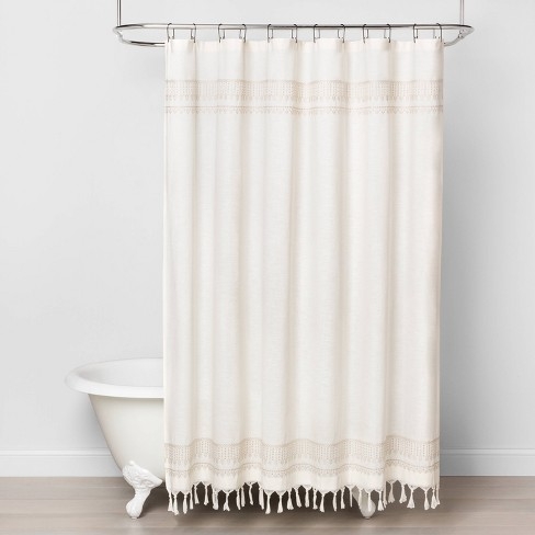 Embroidery Border Stripe Shower Curtain Taupe - Hearth & Hand™ with Magnolia - image 1 of 3
