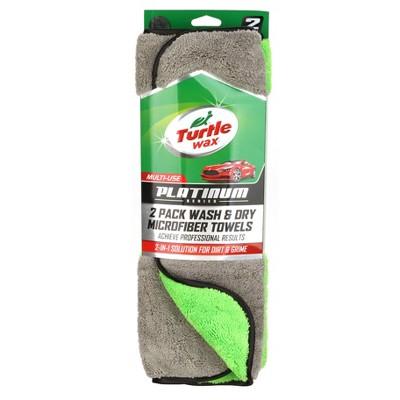 "Turtle Wax 2pk 5""x16"" Platinum Wash & Dry Microfiber Towels Gray/Green"