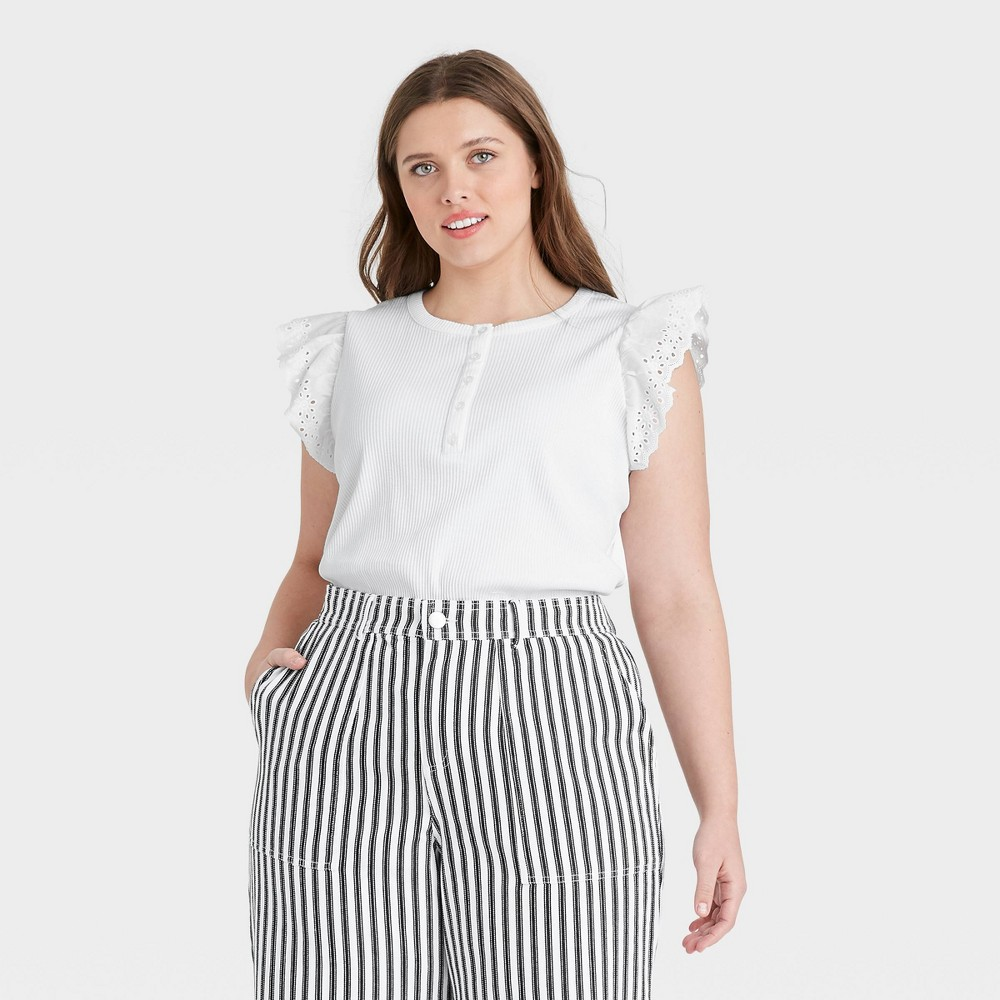 Women 39 S Plus Size Eyelet Ruffle Sleeve Tank Top Who What Wear 8482 White 4x