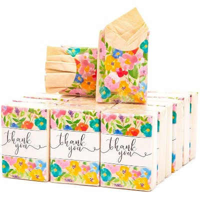Sparkle and Bash 60-Pack Natural Bamboo THANK YOU Floral Print Travel Pocket Facial Tissues Packs