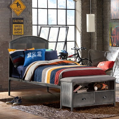 Kids' Twin Urban Quarters Metal Panel Bed with Footboard Bench Black - Hillsdale Furniture