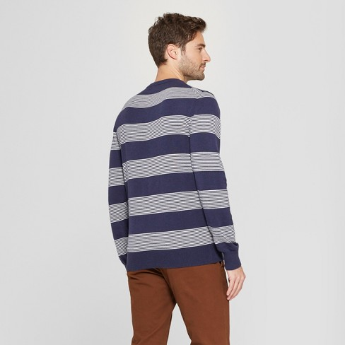 a9dbf16456 Men s Striped Standard Fit V-Neck Sweater - Goodfellow   Co™ Navy Heather    Target