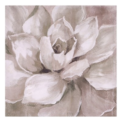18 x18  Hazy Summer Succulent Floral Canvas Art White - Patton Wall Decor
