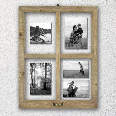 4 Opening Windowpane Raw Wood Frame Brown - MCS