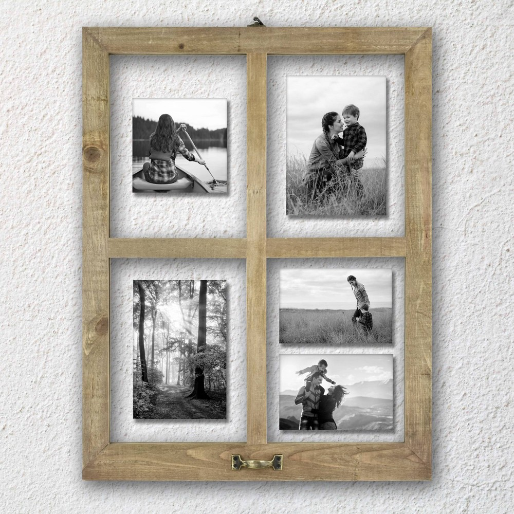 Image of 4 Opening Windowpane Raw Wood Frame Brown - MCS