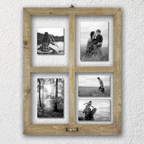 4 Opening Windowpane Raw Wood Frame Brown - MCS - image 1 of 3