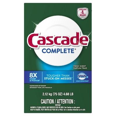 Cascade Complete Powder Dishwasher Detergent Fresh Scent - 75oz