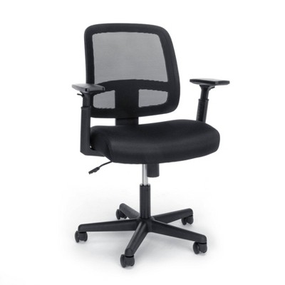 Essentials Collection Mesh Back Chair with Adjustable Arms Black - OFM