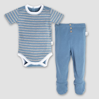 Burt's Bees Baby Organic Cotton Stripe Bodysuit & Footed Pant Set - Atlantic 0-3M