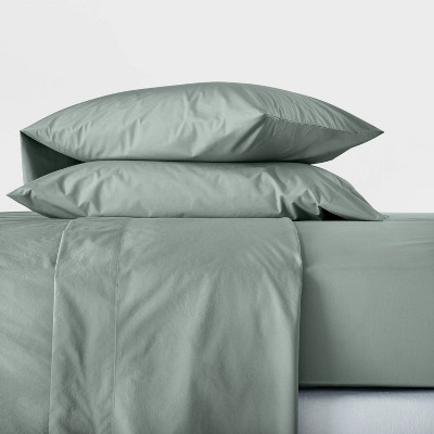 King Washed Supima Percale Solid Sheet Set Sage Green - Casaluna™