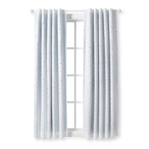 Blackout Curtain Panel Foil Stars 63 Cloud Island Silver