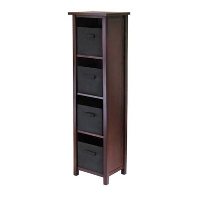 5pc Verona Set Storage Shelf with Folding Fabric Baskets Walnut - Winsome