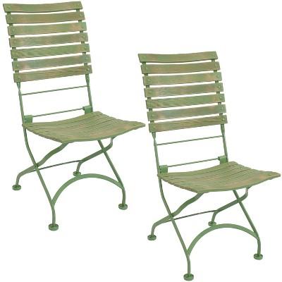 Sunnydaze Indoor/Outdoor Patio or Dining Café Couleur European Chestnut Wooden Folding Bistro Chair - Green - 2pk