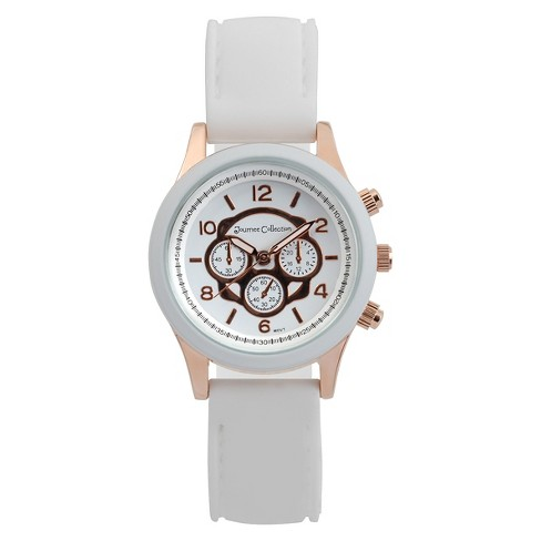 Women's Journee Collection Round Face Colored Silicone Strap Watch - White - image 1 of 2
