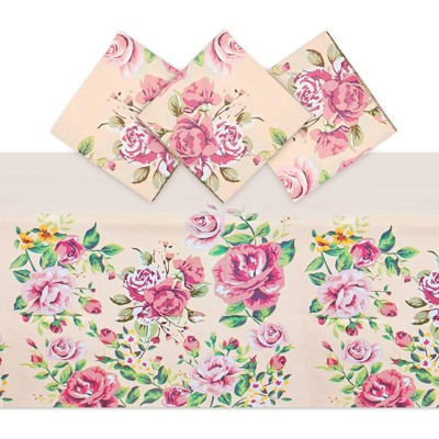 Sparkle and Bash 3 Pack Pink Rose Tablecloth for Wedding Decorations (54 x 108 in)