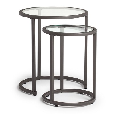 Home Camber Modern Glass Round Nesting Table 20 inches Gray - Studio Designs