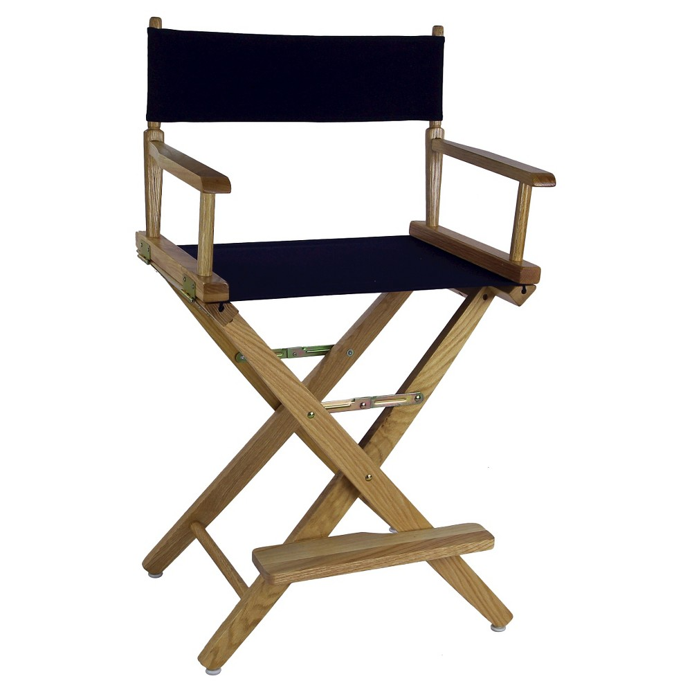 Extra Wide Directors Chair - Natural Frame -Navy - Casual Home, Blue