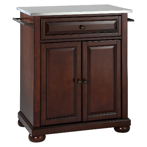 Alexandria Stainless Steel Top Portable Kitchen Island - Vintage Mahogany - Crosley - image 1 of 6