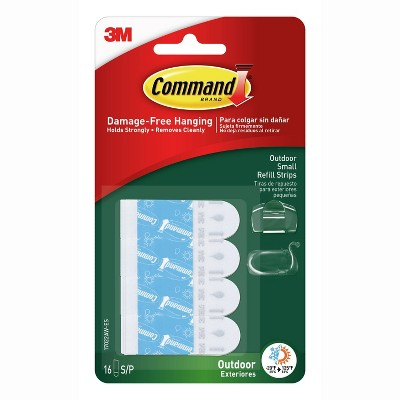 Command 16 Strips Small Sized Outdoor Foam Strip Refills Decorative Hooks White