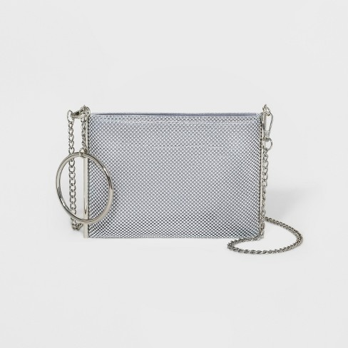 Estee & Lilly Ball Mesh Crossbody Clutch - Silver - image 1 of 3