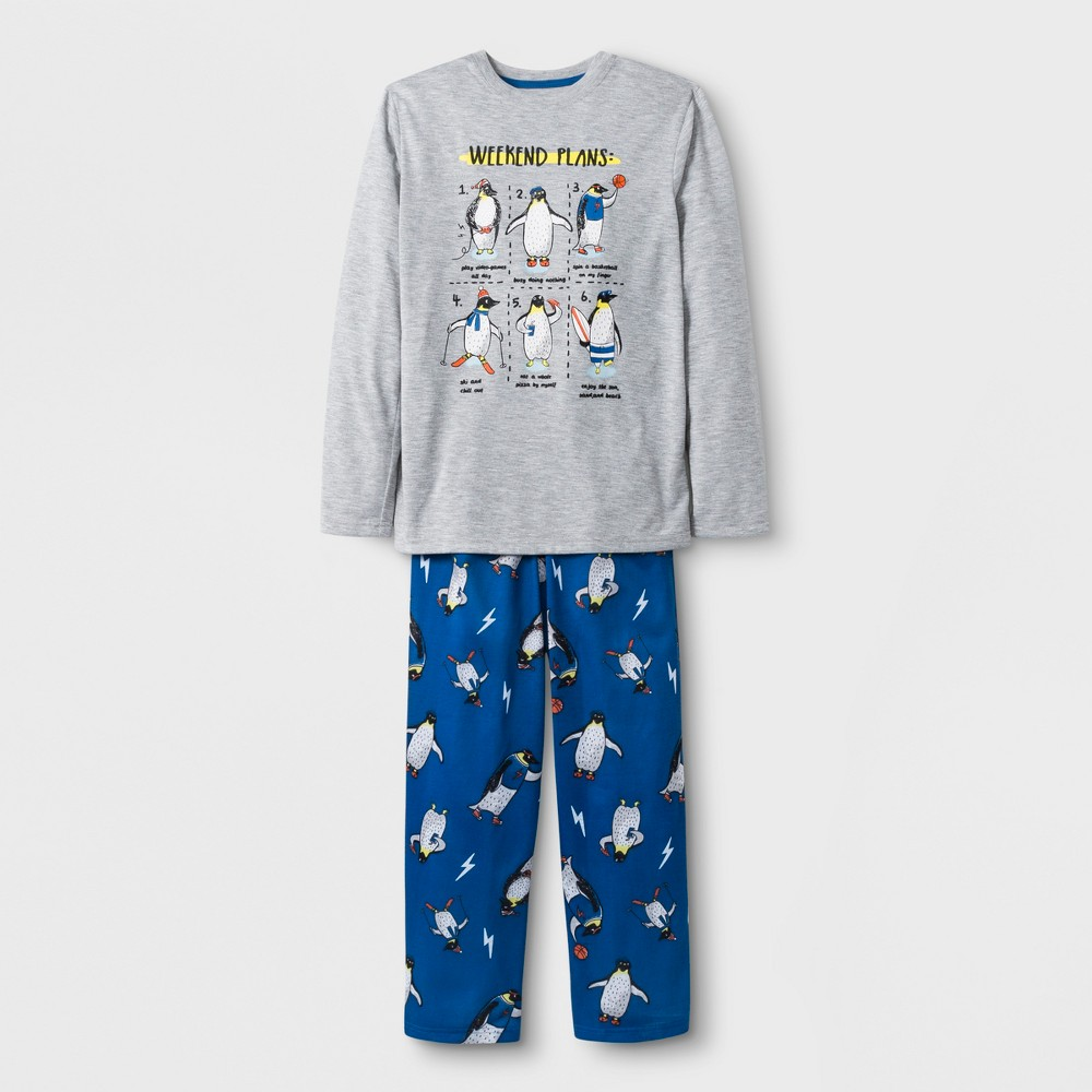 Boys' 2pc Long Sleeve Penguin Graphic Pajama Set - Cat & Jack Gray M
