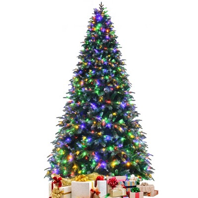 9ft Pre-Lit Snowy Christmas Hinged Tree 11 Flash Modes w/ 780 Multi-Color Lights