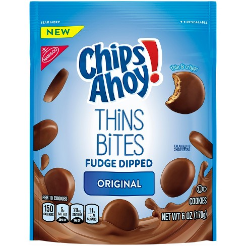 Chips Ahoy! Thins Bites Fudge Dipped Cookies - 6oz - image 1 of 3