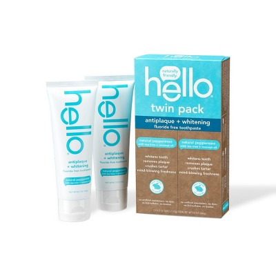 hello Antiplaque + Whitening Toothpaste - Natural Peppermint Vegan & SLS Free - 9.4oz/2pk