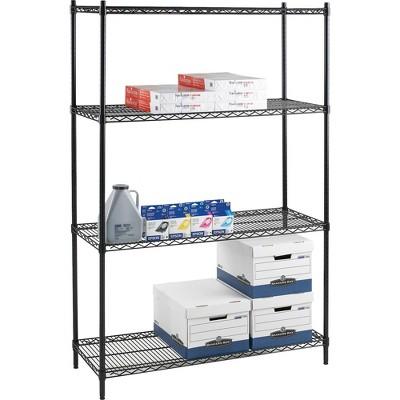 "Lorell Starter Shelving Unit 4 Shelves/4 Posts 36""x24""x72"" BK 69145"