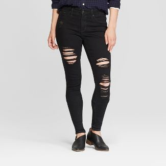 Women's High-Rise Distressed Jeggings - Universal Thread™ Black Wash 2