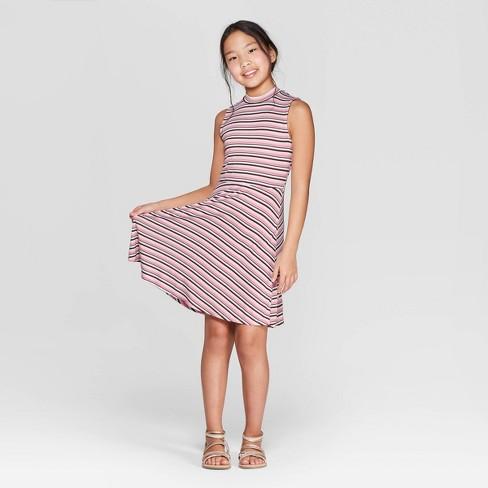 Girls' High Neck Leopard Print Dress - art class™ Light Pink - image 1 of 3