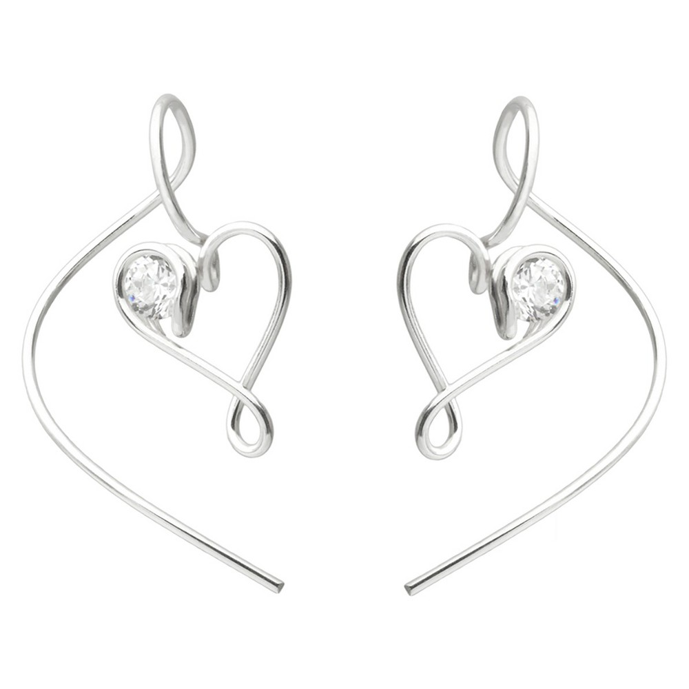 1 1/6 CT. T.W. Round-cut CZ Circle Milgrain Stud Bezel Set Earrings in Sterling Silver - Silver, Girl's