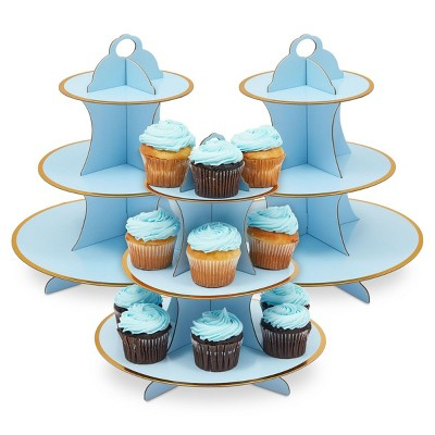 Sparkle and Bash 3 Pack 3-Tier Cardboard Cupcake Stand for Baby Shower (12 x 12 in, Light Blue)