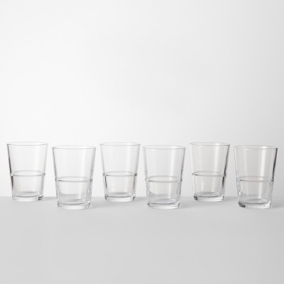 16.4oz Glass Stackable Tall Tumblers Set of 6 - Made By Design™