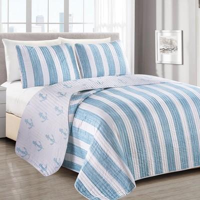 Great Bay Home Casco Bay Coastal Striped Quilt Set