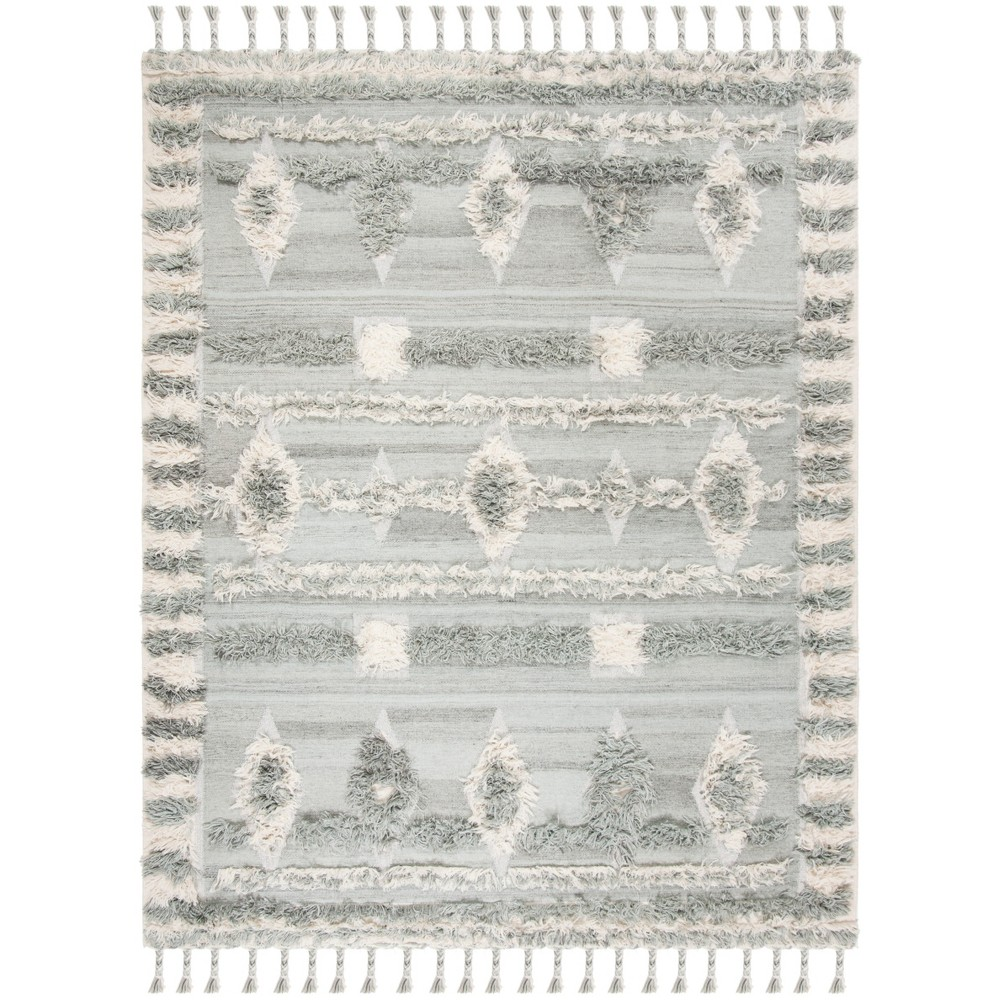 9'X12' Tribal Design Knotted Area Rug Gray/Ivory - Safavieh