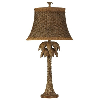 "39"" Rattan Palm Tree Table Lamp Natural Brown - StyleCraft"