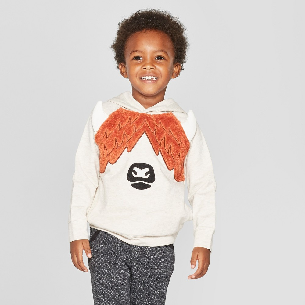 Toddler Boys' Highland Cow Critter Hoodie - Cat & Jack Oatmeal 3T, Beige