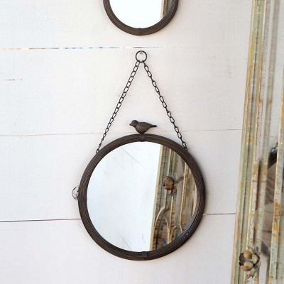 Park Hill Collection Hanging 11'' Round Mirror With Bird Detail