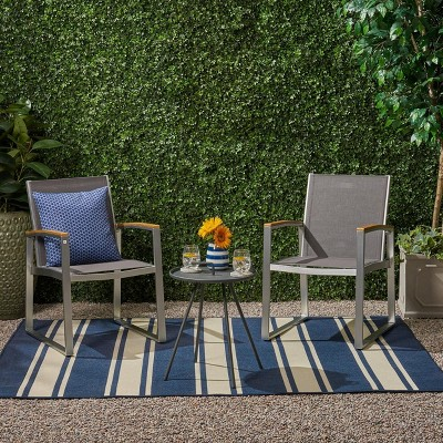 3pc Glasgow Aluminum and Mesh Patio Chat Set Silver - Christopher Knight Home